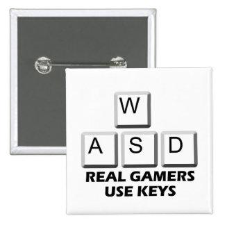 WASD - Llaves reales del uso de los videojugadores Pin Cuadrado