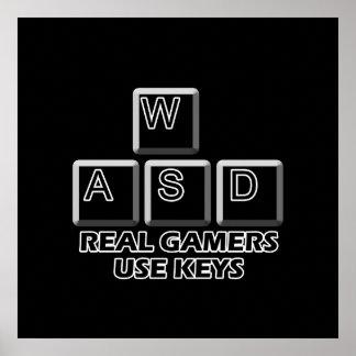 WASD - Llaves reales del uso de los videojugadores Póster