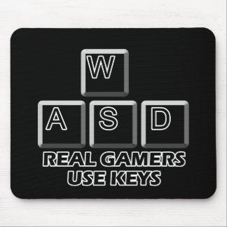 WASD - Llaves reales del uso de los videojugadores Tapete De Ratón