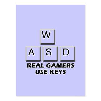 WASD - Llaves reales del uso de los videojugadores Tarjetas Postales