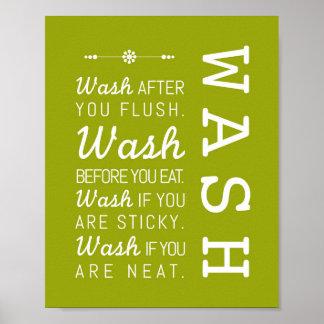 Wash   Bathroom Rules Poster Art Print 8x10