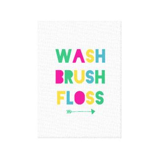 wash brush floss canvas bathroom art