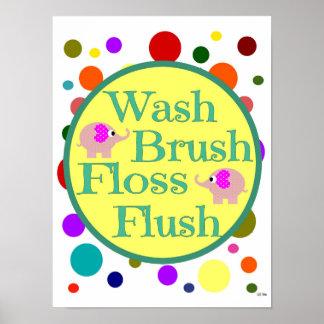 Wash Brush Floss Flush Elephants Bathroom Poster