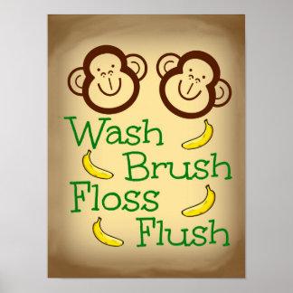 Wash Brush Floss Flush Monkey Bathroom Poster