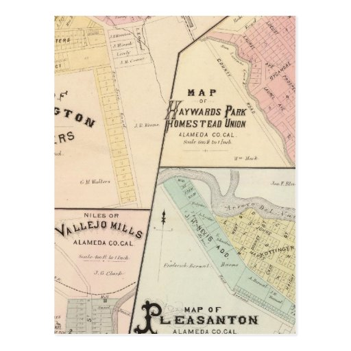 Wash Corners, Haywards Park, Niles, Pleasanton Post Card