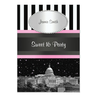 Wash DC Skyline Bk Wht Strp Pink Sweet 16 Party Card