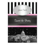 Wash DC Skyline Bk Wht Strp Pink Sweet 16 Party Invitations