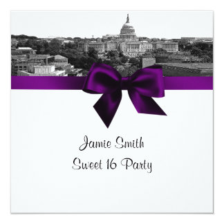 Wash DC Skyline Etched BW Purple Sweet Sixteen SQ Card