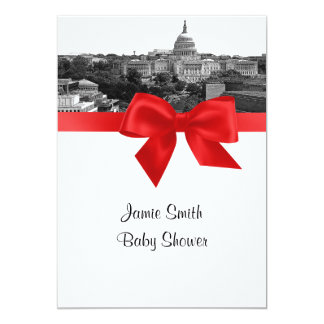 Wash DC Skyline Etched BW Red Baby Shower Card