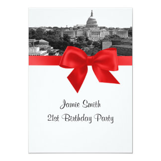 Wash DC Skyline Etched BW Red Birthday Party Card