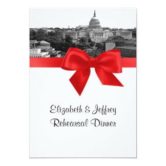 Wash DC Skyline Etched BW Red Rehearsal Dinner Card