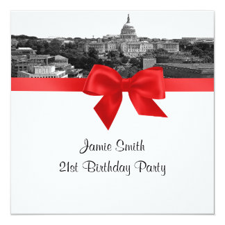 Wash DC Skyline Etched BW Red SQ Birthday Party Card