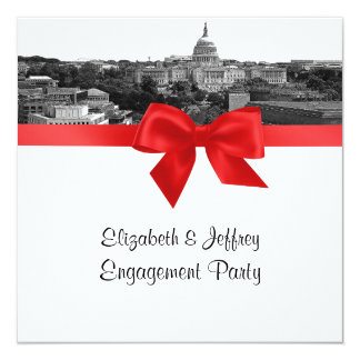 Wash DC Skyline Etched BW Red SQ Engagement Party Card
