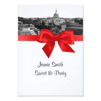 Wash DC Skyline Etched BW Red Sweet Sixteen Card