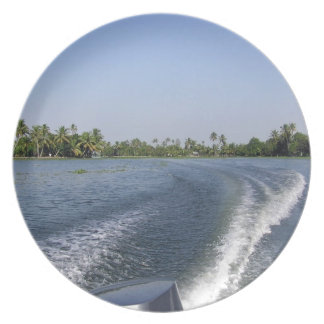 Wash from a boat in a saltwater lagoon party plate
