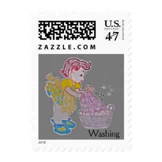 Wash Girl Postage Stamp
