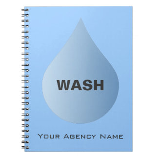 WASH Hands Blue Rain Drop Clean Water Notebook