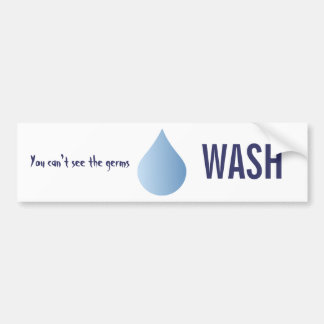 WASH hands blue rain drop clean water sticker Bumper Stickers