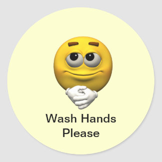 Wash Hands Please Classic Round Sticker