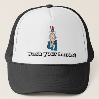 Wash Hands Reminder from Uncle Sam Trucker Hat