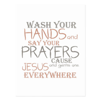 Wash Hands Say Prayers Funny Text Postcard
