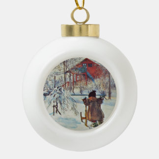 Wash House in the Snow Ceramic Ball Christmas Ornament