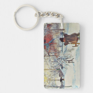 Wash House in the Snow Keychain
