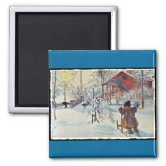 Wash House in the Snow Fridge Magnets
