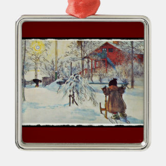 Wash House in the Snow Metal Ornament