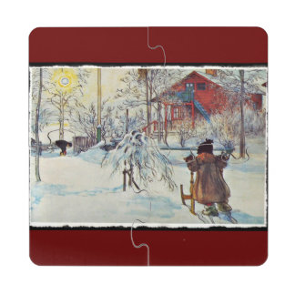 Wash House in the Snow Puzzle Coaster