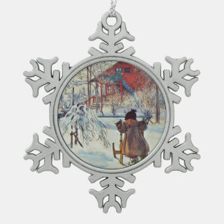 Wash House in the Snow Snowflake Pewter Christmas Ornament