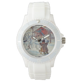 Wash House in the Snow Wrist Watch