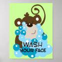 Wash Your Face Monkey Bathroom Art Print print