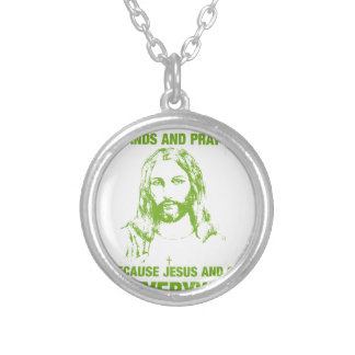 Wash Your Hands And Pray - Jesus And Germs... Silver Plated Necklace