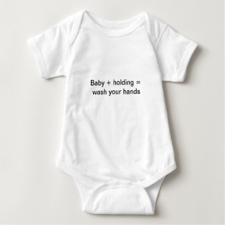 Wash your hands before holding the baby tee shirt