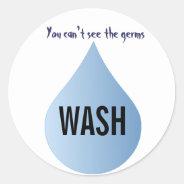 WASH Your Hands blue rain drop clean water sticker at Zazzle