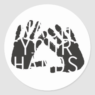 WASH YOUR HANDS CLASSIC ROUND STICKER