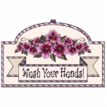 "&quot;Wash Your Hands!&quot; - Decorative Sign - 41 Statuette<br><div class=""desc"">Ruby roses on cream: This item is part of a large collection of mix &amp; match gifts all with the same basic design elements.. The original design was hand painted and features ruby roses on a cream background, maroon and cream checks and stripes, and some cream coloured lace on a...</div>"