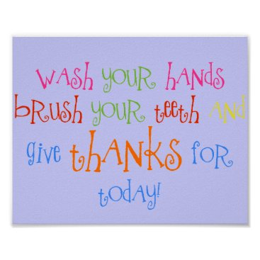 abcsoffamily Wash Your Hands Give Thanks Poster Bathroom Decor