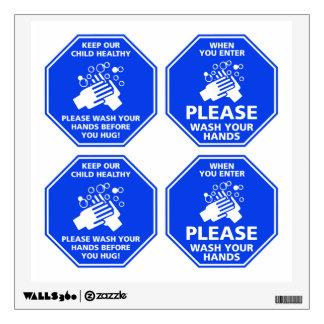 Wash Your Hands Mixed Door Decals Cleanroom Blue