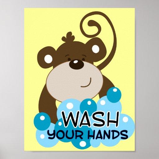 Wash Your Hands Monkey Bathroom Art Print