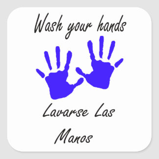 wash your hands square sticker