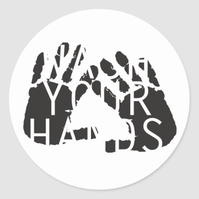 WASH YOUR HANDS ROUND STICKER