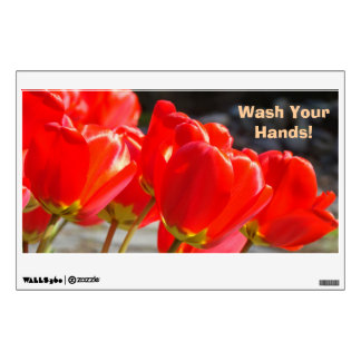 Wash Your Hands wall decals Red Tulips Flowers
