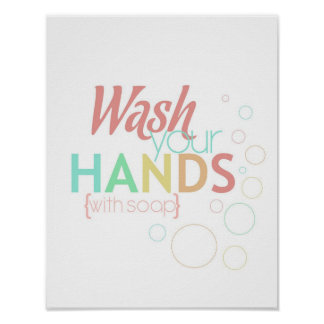 wash your hands - with soap - poster