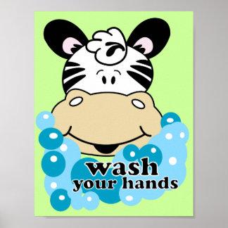 Wash Your Hands Zebra Bathroom Art Print