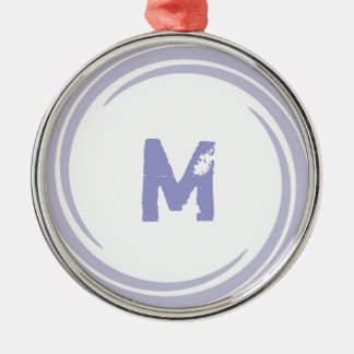 Washed Away! monogram in purple Round Metal Christmas Ornament