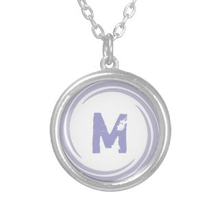 Washed Away! monogram in purple Round Pendant Necklace