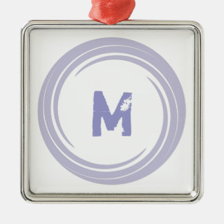 Washed Away! monogram in purple Square Metal Christmas Ornament