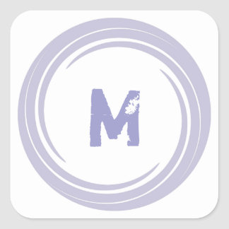 Washed Away! monogram in purple Square Sticker